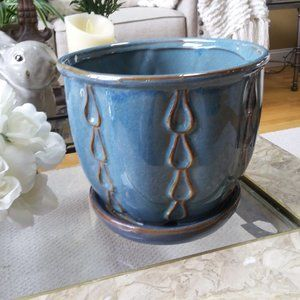 NEW! GORGEOUS Glazed POT Planter ATTACHED Dish